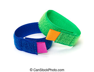 Rings from Colorful Velcro Strips, on white background