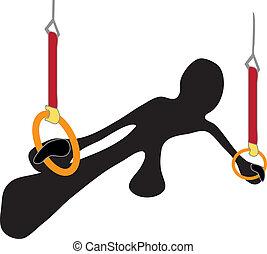 Rings gymnastic shadow man