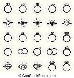 Rings icon set on circles background for graphic and web design, Modern simple vector sign. Internet concept. Trendy symbol for website design web button or mobile app.