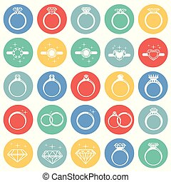 Rings icon set on color circles background for graphic and web design, Modern simple vector sign. Internet concept. Trendy symbol for website design web button or mobile app.