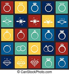 Rings icon set on color squares background for graphic and web design, Modern simple vector sign. Internet concept. Trendy symbol for website design web button or mobile app.