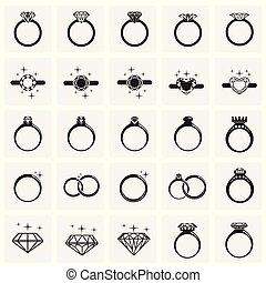 Rings icon set on squares background for graphic and web design, Modern simple vector sign. Internet concept. Trendy symbol for website design web button or mobile app.