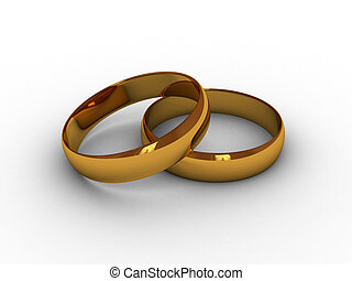 Rings - Illustration of gold rings on a white background