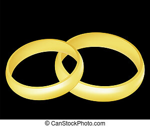 Rings - Illustration of the two golden wedding rings over...