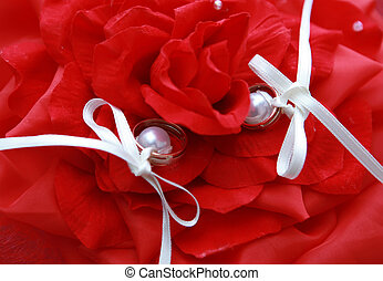 Rings in a bouquet of roses