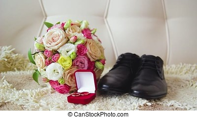 Rings newlyweds and a bride bouquet with accessories 1