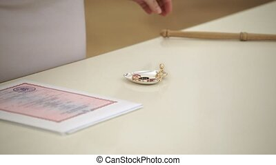 Rings on wedding ceremony