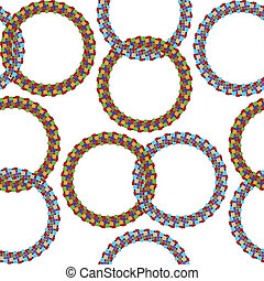 rings seamless pattern, abstract texture; vector art...