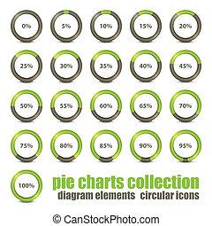 new collection of percentage diagram presentation design elements