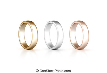 Rings set stand isolated, golden, silver, pink gold jewelry,