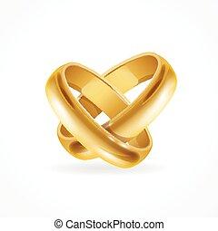 rings., vektor, fényes, arany, esküvő