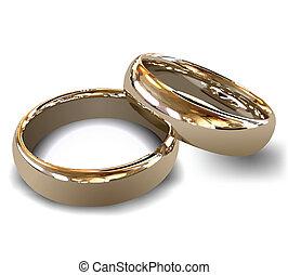 rings., vektor, guld, bröllop