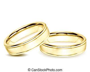 rings., vetorial, ouro, ilustração, casório