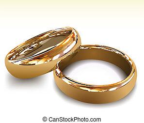 rings., vettore, oro, illustrazione, matrimonio