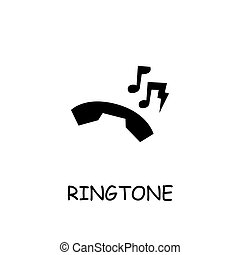 ringtone, vector, icono, plano