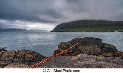 Rinkusteinar rock time lapse in faroe islands, sliding...