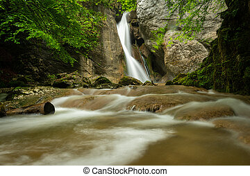 Rinnerberger Waterfall on a rainy day in spring - ...