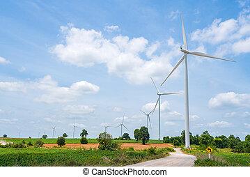 rinnovabile, turbina, energia, vento, blu, estate, cielo, fonte