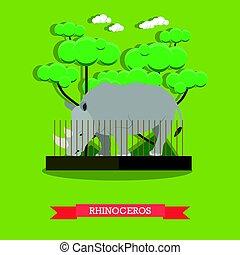 rinoceronte, apartamento, estilo, vetorial, ilustração