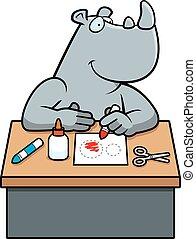 rinoceronte, caricatura, artes