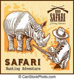 rinoceronte, caza, -, bandera, con, africano, safari, animal.