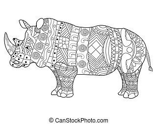 rinoceronte, coloração, vetorial, adultos, livro