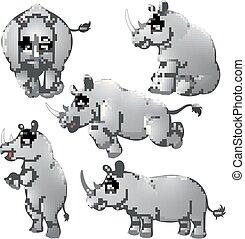 rinoceronte, conjunto, caricatura, colección