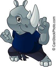 rinoceronte, defensa propia, postura