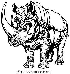 rinoceronte, en, el, armadura