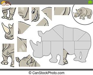 rinoceronte, puzzle, jigsaw, gioco, animale