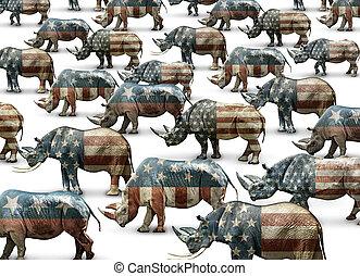 rinoceronte, republicanos, en, nombre, solamente