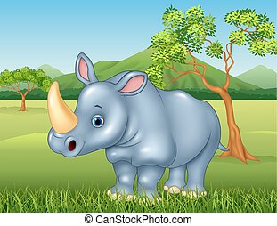Rinoceronte, selva, caricatura