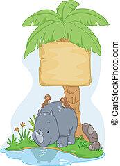 rinoceronte, tábua, sinal