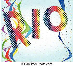 Rio - A party background with the text RIO