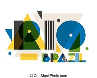 rio, alatt, elvont, geometriai, style., tervezés, helyett, nyomtat, képben látható, trikó, természetjáró brochure, hirdetés, transzparens