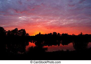 rio, amanhecer, manhã