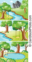 rio, balanço, cenas, natureza