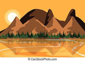 rio, céu, paisagem, amarela, natureza