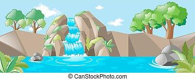 rio, cachoeira, cena, natureza