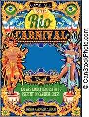 Rio Carnival Poster Frame Brazil Carnaval Mask Show Parade -...