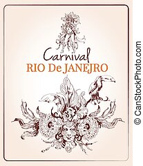 Traditional rio brazilian carnival celebration poster with young beautiful woman and decoration masque sketch vector illustration