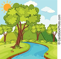 rio, cena, árvores, floresta