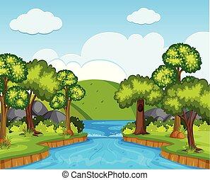 rio, cena, árvores, natureza