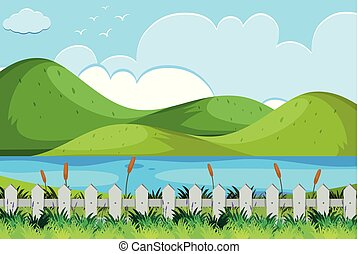 rio, cena, colinas, natureza