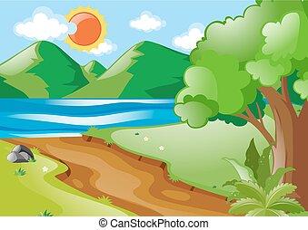 rio, cena, estrada, natureza