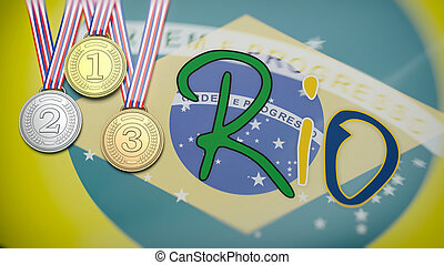 Rio city and three winner medals against of Brazil flag