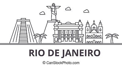 Rio De Janeiro architecture line skyline illustration. Linear vector cityscape with famous landmarks, city sights, design icons. Editable strokes