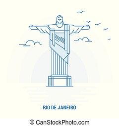 RIO DE JANEIRO Blue Landmark. Creative background and Poster Template