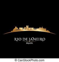 Rio de Janeiro Brazil city skyline silhouette black background