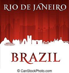 Rio de Janeiro Brazil city skyline silhouette red background